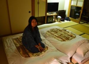 Futon Beds, Ryokan Hotels at Mount Fuji, Lake Kawaguchiko Japan