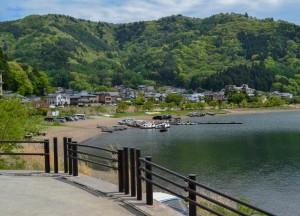Views from Ryokan Hotels at Mount Fuji, Lake Kawaguchiko Japan