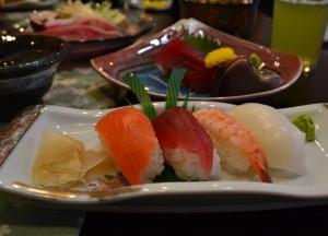 Sushi Sashimi, Ryokan Hotels at Mount Fuji, Lake Kawaguchiko Japan