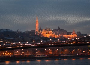Sunset in Budapest, Winter Road Trip in East Central Europe