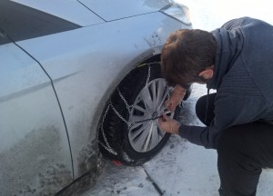 Fitting Snow Chains Winter Road Trip in Europe