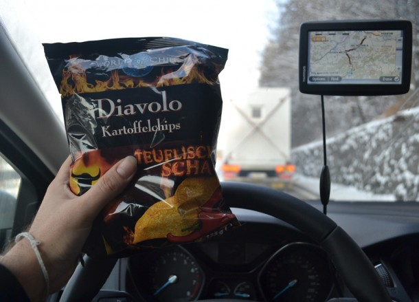 Eating Snacks, Winter Road Trip in East Central Europe