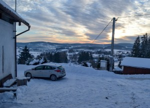 Sunrise in Stachy, Winter Road Trip in East Central Europe