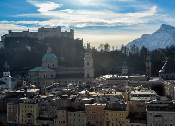 Salzburg from Above, Winter Road Trip in East Central Europe