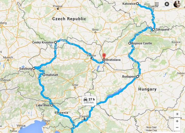 Simple Map of Winter Road Trip in East Central Europe