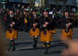 Bagpipe Bands, Celebrating Saint Patricks Day in Downpatrick Northern Ireland