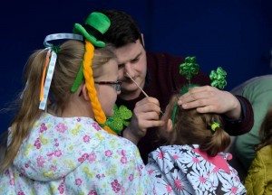 Face Painting, Celebrating Saint Patricks Day in Downpatrick Northern Ireland