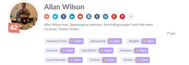 Travel Blogger Klout Score Allan Wilson Live Less Ordinary