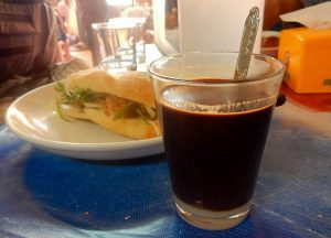 Vietnamese Coffee, Best Khao Jee Lao Sandwich in Vientiane Laos Riverside