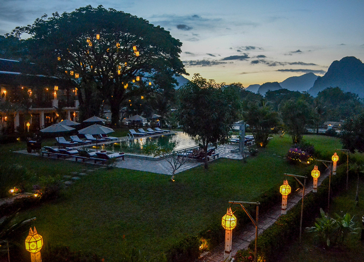 Sunset views luxury vang vieng hotel riverside boutique resort spa