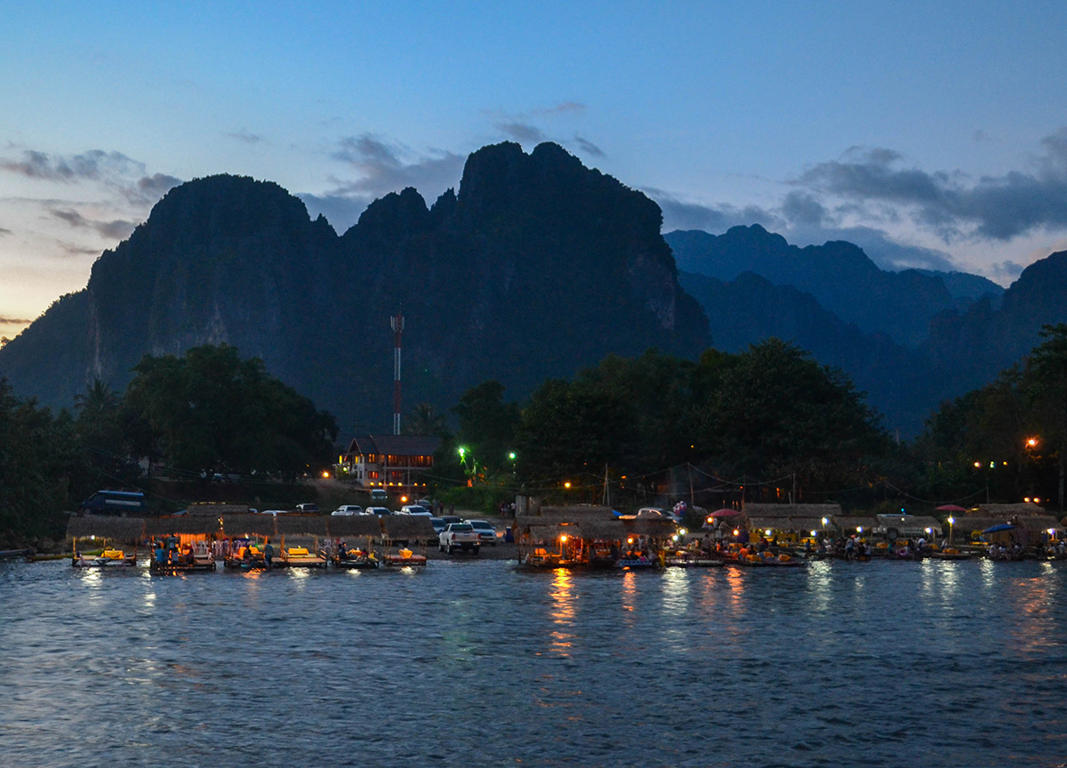 River at night luxury vang vieng hotel riverside boutique resort spa