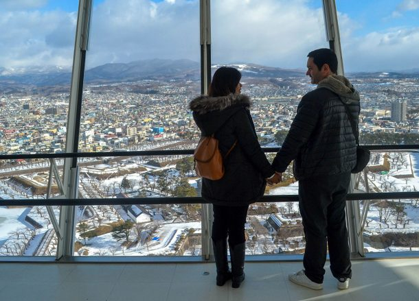 Goryokaku Tower Hakodate, JR Japan Rail Pass Travel in Winter February Snow