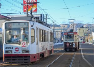 Trams in Hakodate, JR Japan Rail Pass Travel in Winter February Snow