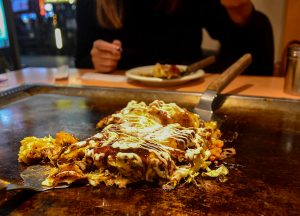 Okonomiyaki in Osaka,JR Japan Rail Pass Travel in Winter February Snow