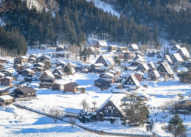 Shirakawago from Above,JR Japan Rail Pass Travel in Winter February Snow