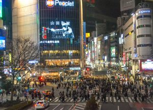 Shibuya Crossing, JR Japan Rail Pass Travel in Winter February Snow