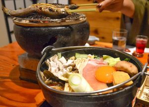 Suki Yaki Hot Pot Kaiseki Dinner at Osenkaku Ryokan Takaragawa Onsen in Winter Snow