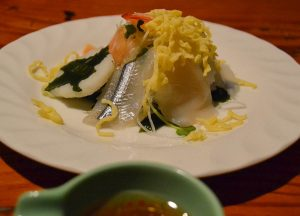Sashimi with Chilli sauce, Osenkaku Ryokan Takaragawa Onsen in Winter Snow