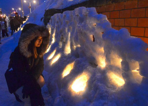 Snow Sculptures Otaru, JR Japan Rail Pass Travel in Winter February Snow