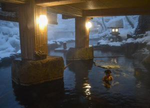 Inside the Onsen, Osenkaku Ryokan Takaragawa Onsen in Winter Snow