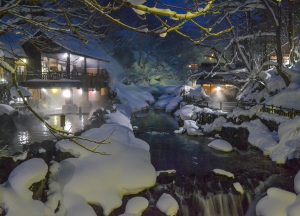 Night time at Osenkaku Ryokan Takaragawa Onsen in Winter Snow