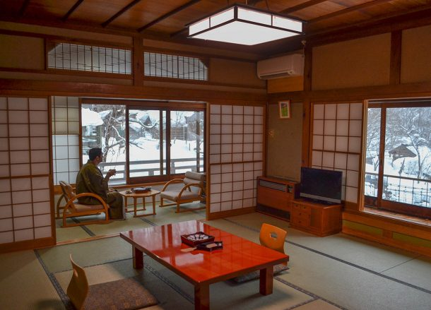 Traditional Japanese Room, Osenkaku Ryokan Takaragawa Onsen in Winter Snow