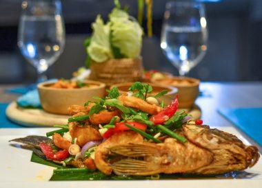 Fried Fish Salad, X2 Vibe Buriram Hotel Isaan Northeastern Thailand