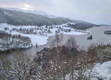 Queens View in Snow, Winter Road Trip in the Scottish Highlands Snow Scotland