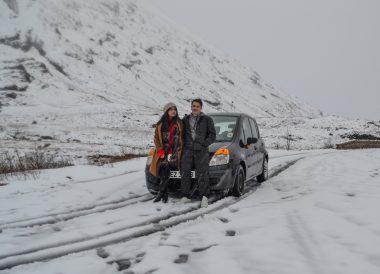 Renault Modus, Loch Lomond Viewpoint Winter Road Trip in the Scottish Highlands Snow Scotland