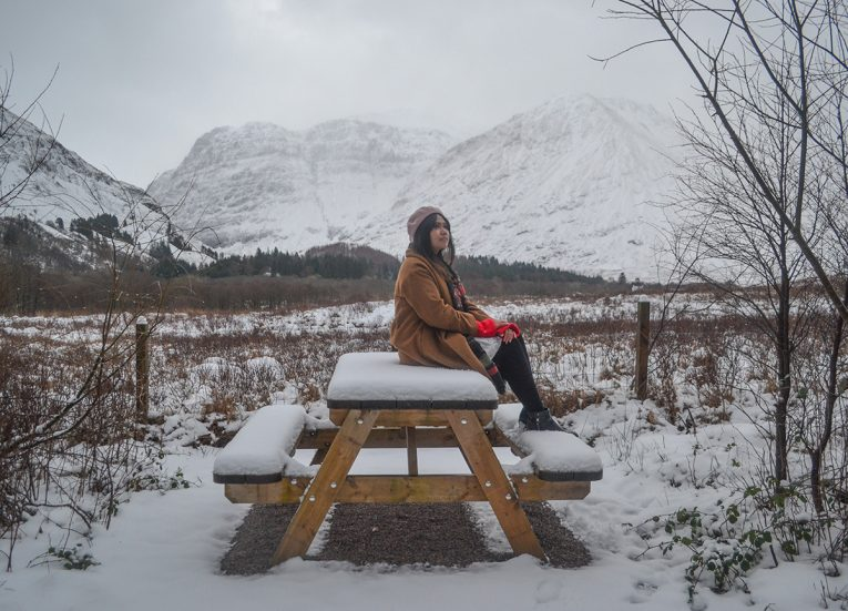 Glen Coe Viewpoint, Winter Road Trip in the Scottish Highlands Snow Scotland