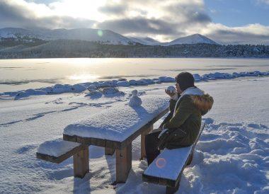 Loch Morlich Frozen, Winter Road Trip in the Scottish Highlands Snow Scotland