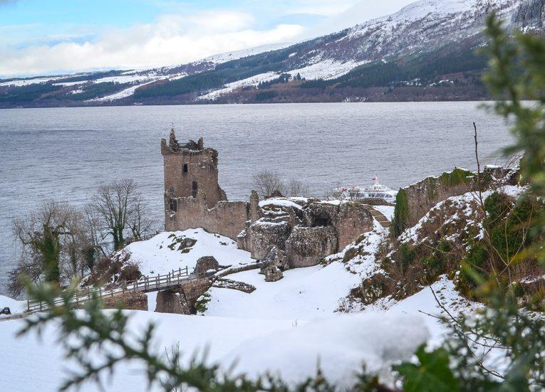 Loch Ness Castle, Winter Road Trip in the Scottish Highlands Snow Scotland