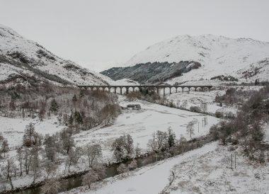 Glenfinnan Bridge, Loch Lomond Viewpoint Winter Road Trip in the Scottish Highlands Snow Scotland