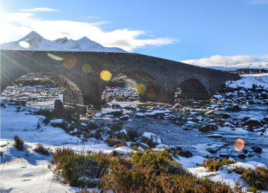 Sligachan Bridge, Winter Road Trip in the Scottish Highlands Snow Scotland