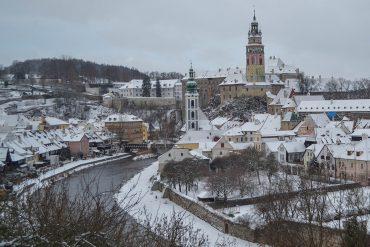 Best Views of Cesky Krumlov in Winter Snow, Czech Republic